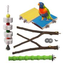 kathson Parrot Perch Stand Platform, Bird Stand Toys Natural Wood Playground Stick Paw Grinding with Birds Chewing Toy for Parakeet Budgies Cockatiel Conure Lovebirds(6PCS)