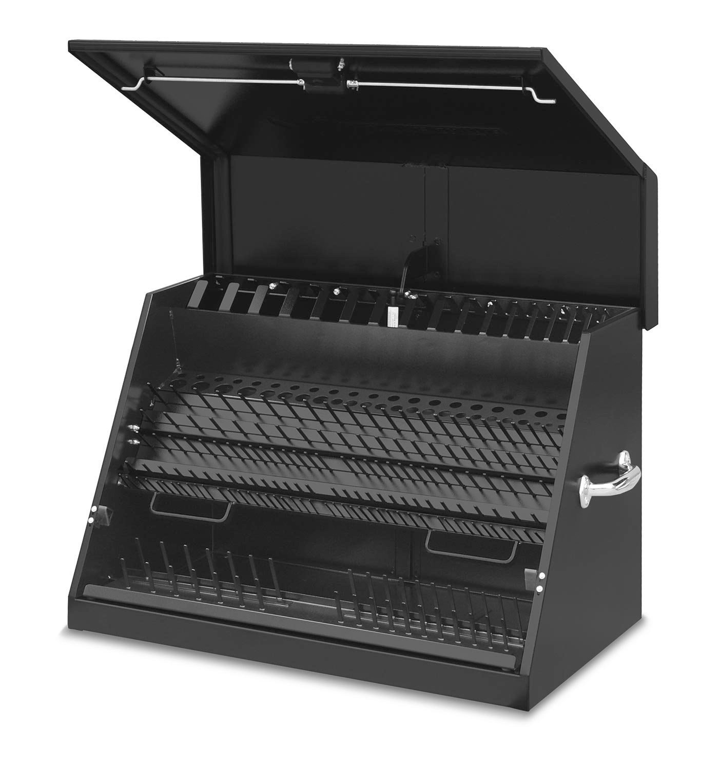 Montezuma – LA400B – 30-Inch Portable TRIANGLE Toolbox – Multi-Tier Design – 16-Gauge Construction – SAE and Metric Tool Chest – Weather-Resistant Toolbox – Lock and Latching System