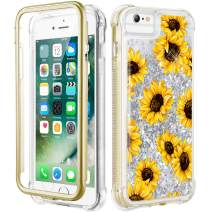 Caka iPhone 7 Glitter Case, iPhone 8 Sunflower Full Body Case with Screen Protector for Women Girls Girly Floral Flower Design Bling Sparkle Liquid Protective Case for iPhone 7 8 6 6s (Sunflower)