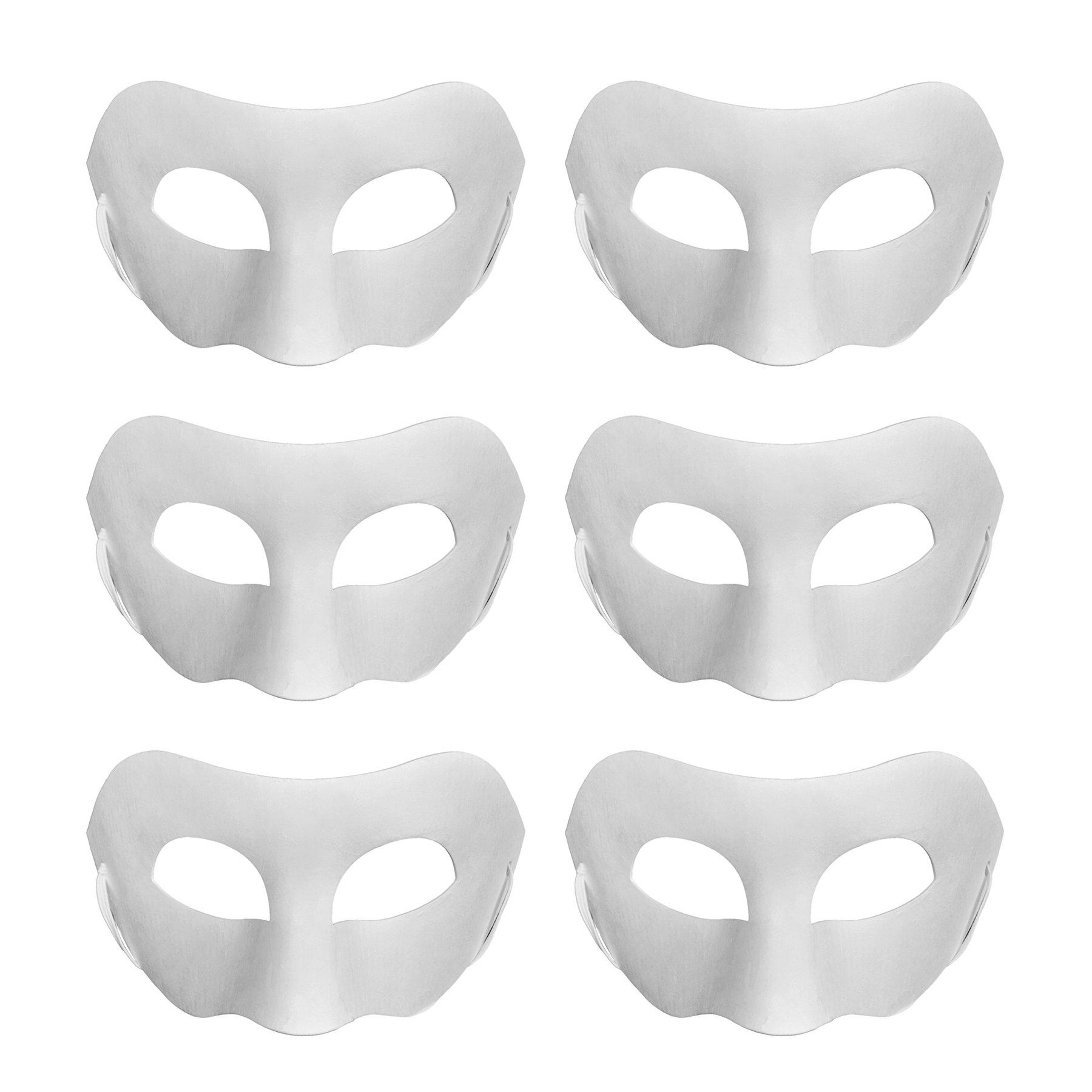 Aspire 6 PCS Blank DIY Half Masks Craft Paper Halloween Masquerade Face Mask Decorating Party Costume