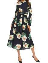 SE MIU Women's Vintage Empire Floral Print Long Sleeve Cocktail Party Boho Maxi Dress