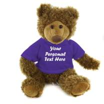 Plushland Adorable Frankie Bear 12 Inches, Stuffed Animal Personalized Gift - Great Present for Mothers Day Valentine Day Graduation Day Birthday Christmas - Custom Text on Hoodie (Purple)