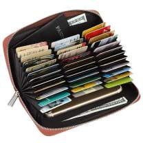 Women 36 Slots RFID Blocking Card Holder Large Long Leather Zipper Organizer Accordion Wallet
