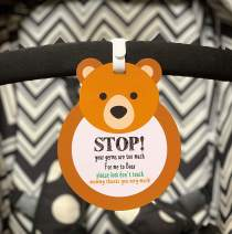 Bear-Stop,Please Look,Don't Touch Baby Sign Tag (Girl Sign, Newborn, Baby Car Seat Tag, Baby Bed Tag,Stroller Tag, Carrycot Basket Tag,Baby Preemie No Touching Car Seat Sign Tag) W/Hanging Straps