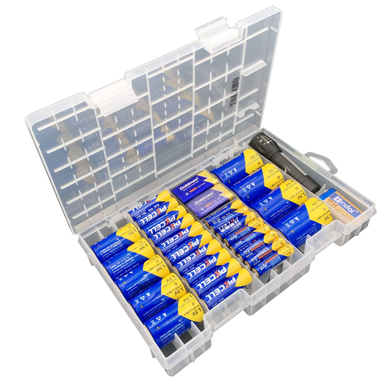 Battery Organizer Storage case for 68pcs Battery Holds, AA, AAA, C, D, 9 Volt Sizes and Button Battery Storage Box, Great Storage fordrawer, Home Offices and Garage Tools Room