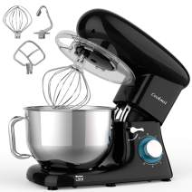 Cookmii Stand Mixer, 660W Dough Mixer with 5.5 Quart Stainless Steel Bowl, Kitchen Food Mixer with Dough Hook,Whisk, Flat Beater, Pouring Shield(Black)