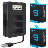 TOMSHEIR 2000mAh Replacement Batteries for GoPro Hero 9 Battery (2-Pack) and 3-Channel USB Quick Charger (Fully Compatible with HERO9 Black Official)