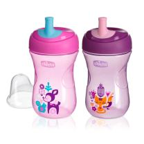 Chicco First Straw Trainer Sippy Cup 9oz 9m+ (2pk) - Pink/Purple