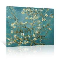 "JAPO ART Almond Blossom Modern Framed Floral Giclee Canvas Prints by Van Gogh Famous Oil Paintings Reproduction Flowers Pictures on Canvas Wall Art Ready to Hang for Bedroom Home Decorations 16""x12"""