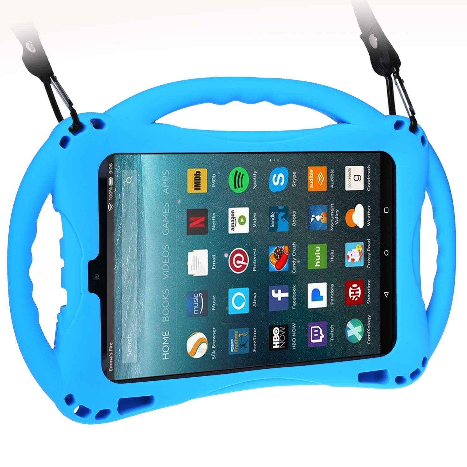 TopEsct Kid-Proof Case for All-New Amazon Fire HD 8(Compatible with 7th and 8th Generation Tablets, 2017 and 2018 Releases}Handle Stand Cover Case for Kids (Blue)