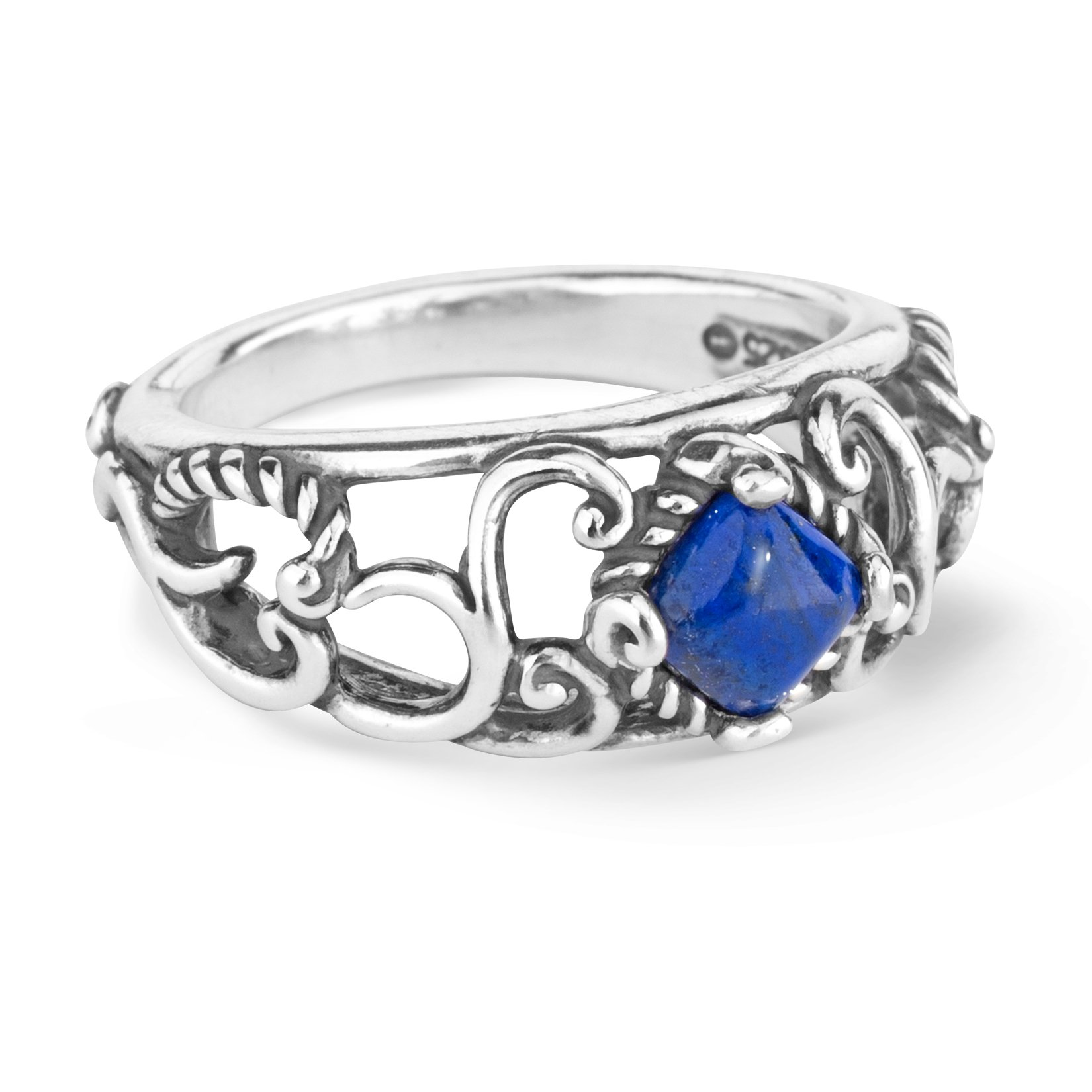 Carolyn Pollack Sterling Silver Choice of Color Gemstone Band Ring Size 5 to 10