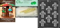Cybrtrayd Small Cross with Swirl Chocolate Candy Mold with Chocolatier's Bundle, Includes 25 Cello Bags, 25 Gold Twist Ties and Chocolatier's Guide