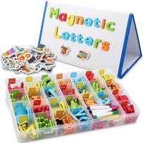 CHUCHIK ABC Magnetic Letters Set for Kids and Toddlers. Alphabet Lowercase and Uppercase Foam Magnets Toy with Easel White Board, 4 Pens and Eraser.