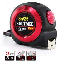 HAUTMEC 26 Ft (8m) Easy To Read Heavy Duty Tape Measure, Imperial Metric Inches Scale, with Retractable Nylon Coated Measuring Tape Ruler Blade and Sturdy Shock Absorbent ABS Rubber Case HT0019-TA
