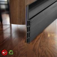 "BAINING Door Draft Stopper Sweep, Silicone Door Seal Strip, Under Door Noise Blocker, with 3M VHB Adhesive Backing,2"" W x 39"" L, Black"
