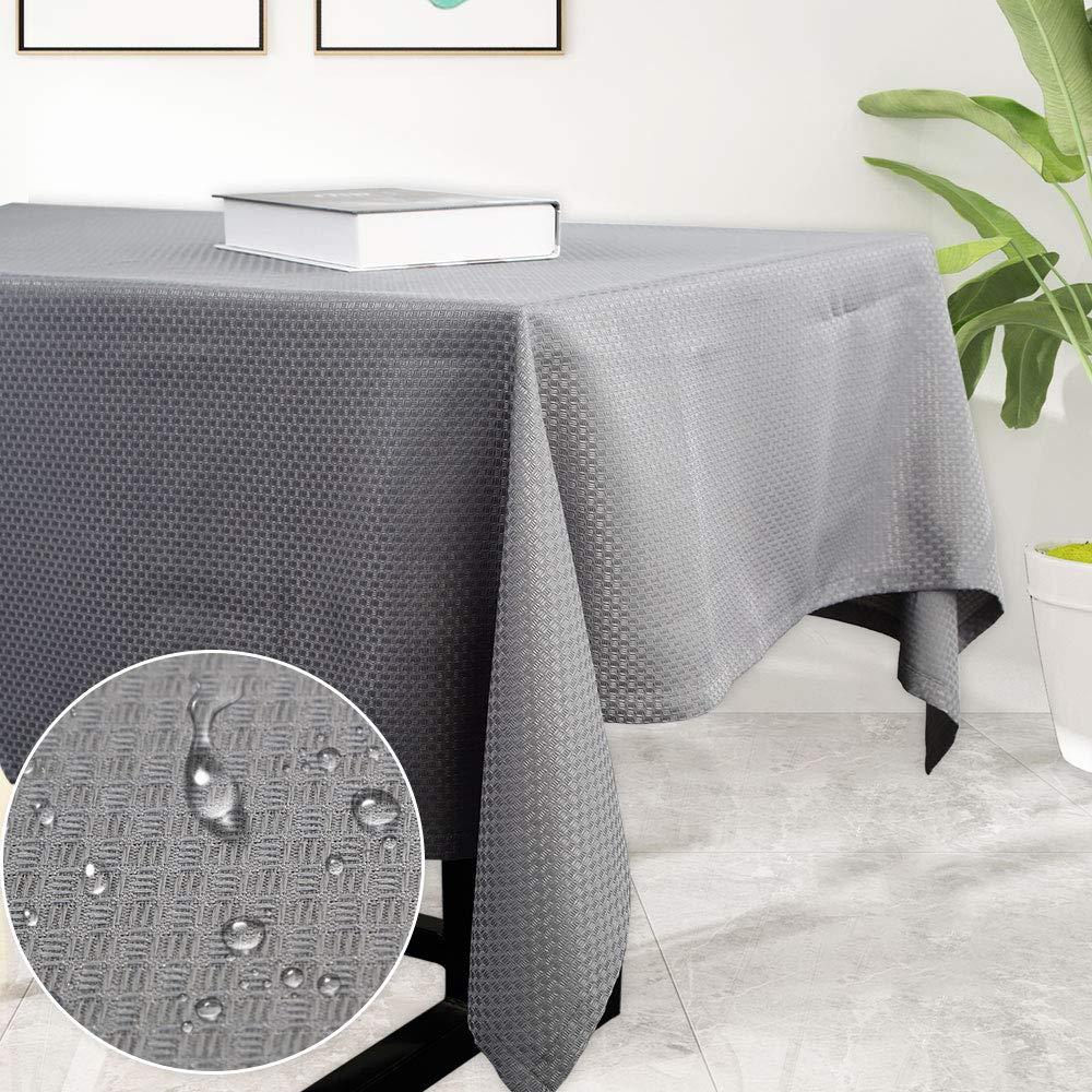 Haperlare Waffle Woven Tablecloth, 52 x 70 Inch Rectangular Fabric Table Cloth, Water-Repellent and Stain Resistant Table Cover for Buffet Table, Parties, Gray