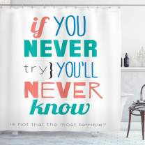 """Ambesonne Saying Shower Curtain, If You Never Try Youll Never Know Philosophy Inspiration Modern Sign, Cloth Fabric Bathroom Decor Set with Hooks, 70"""" Long, Teal Coral"""