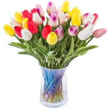 JOEJISN 30pcs Artificial Tulips Flowers Real Touch Multicolored Tulips Fake Holland PU Tulip Bouquet Latex Flowers for Wedding Party Office Home Kitchen Decoration (6 Colors Mixed)