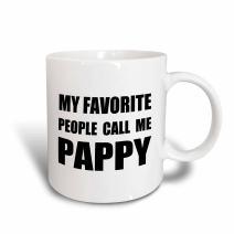 3dRose My Favorite People Call Me Pappy-Fun Text Design For Grandpa Mug, 11 oz, Black/Blue