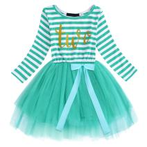 FYMNSI Baby Girls 1st/2nd/3rd Birthday Cake Smash Princess Long Sleeve Striped Dress
