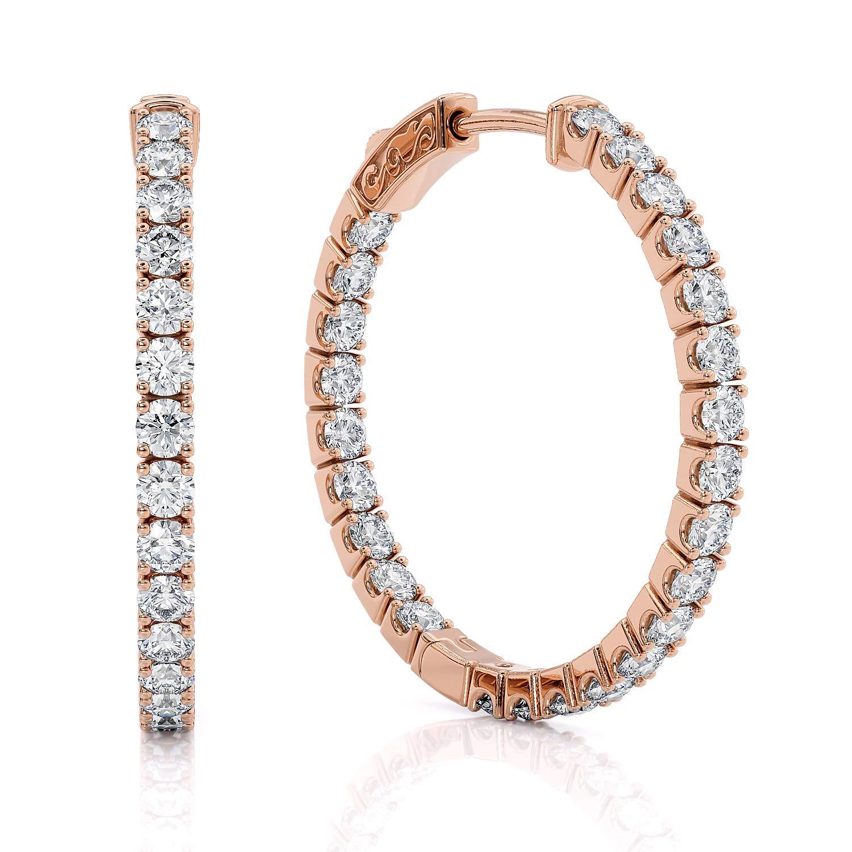 1 Carat Diamond Hoop Earrings for Women - 14 Karat Rose Gold Hoop Earrings Natural G-H Color White Diamond Hoop Earrings with Secure Lock by Beverly Hills Jewelers