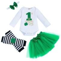 My 1st St.Patrick's Day Baby Girls Letter Print Romper+ Tutu Skirt+Shamrock Leg Warmers+Headband Outfits Set