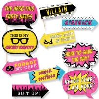 Big Dot of Happiness Funny Bam Girl Superhero - Baby Shower or Birthday Party Photo Booth Props Kit - 10 Piece