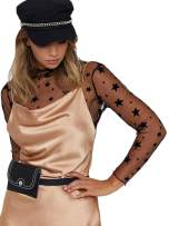 Crop Tops for Women Sexy Sheer Top Cover Up Swim Beach Mesh Top with Stars