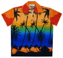 Hawaiian Shirts Boys Coconut Tree Beach Aloha Party Camp Short Sleeve Holiday
