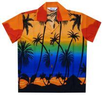 Hawaiian Shirts Boys Coconut Tree Beach Aloha Party Camp Short Sleeve Holiday