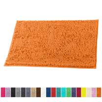 LuxUrux Bath Mat-Extra-Soft Plush Bath Shower Bathroom Rug,1'' Chenille Microfiber Material, Super Absorbent Shaggy Bath Rug. Machine Wash & Dry (15 x 23, Orange)