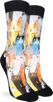 Good Luck Sock Women's Cat Party Crew Socks - Black, Adult Shoe Size 5-9