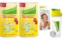 Almased Meal Replacement Shake - Plant Based Protein Powder - Shake for Weight Management(2 pack +Blender Bottle Shaker and Diet Recipe Book)