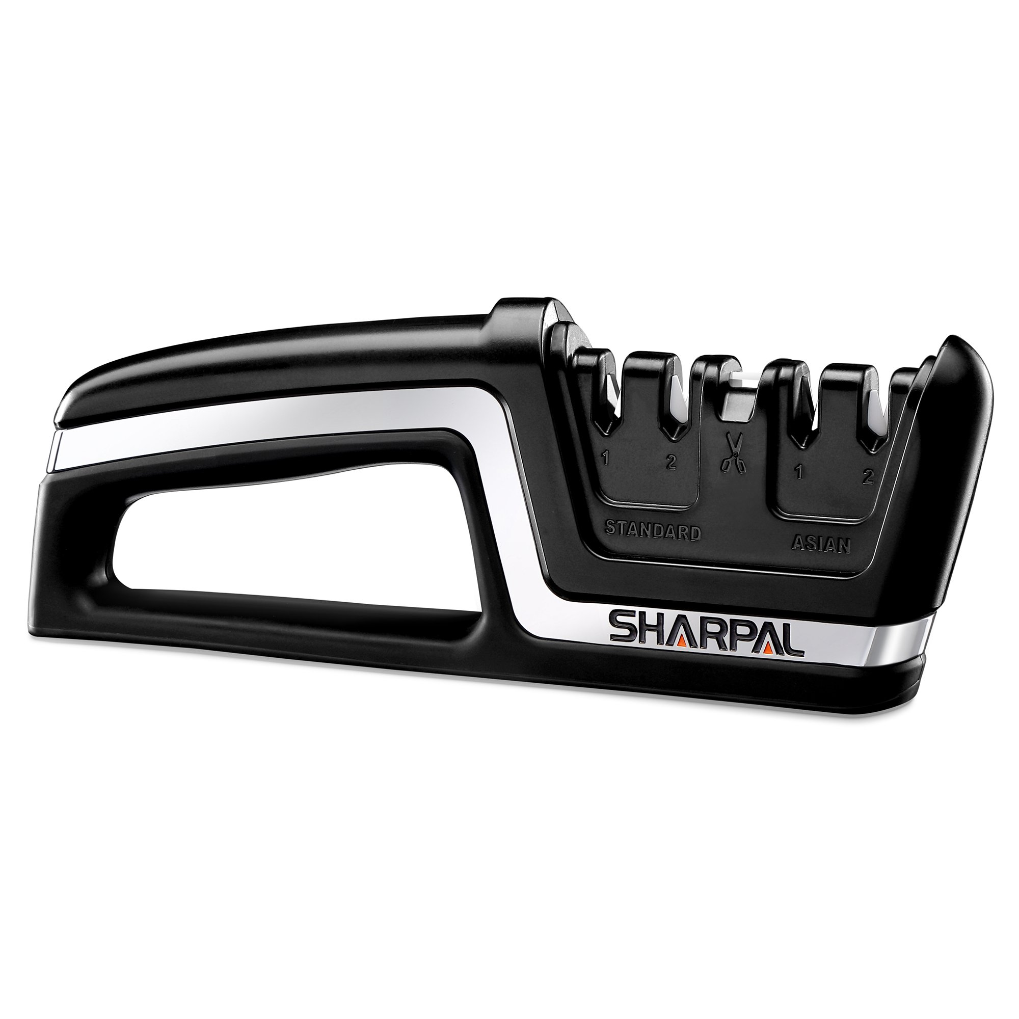 SHARPAL 104N Professional 5-in-1 Kitchen Chef Knife & Scissors Sharpener, Sharpening Tool for Straight & Serrated Knives, Repair and Hone both Euro/American and Asian Knife, Fast Sharpen Scissor