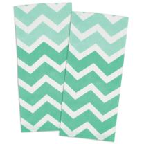 DII 100% Cotton, Oversized, Low Lint, Everyday Kitchen Basic, Printed Chevron Dishtowel, Tea Towel, 18 x 28, Set of 2- Aqua