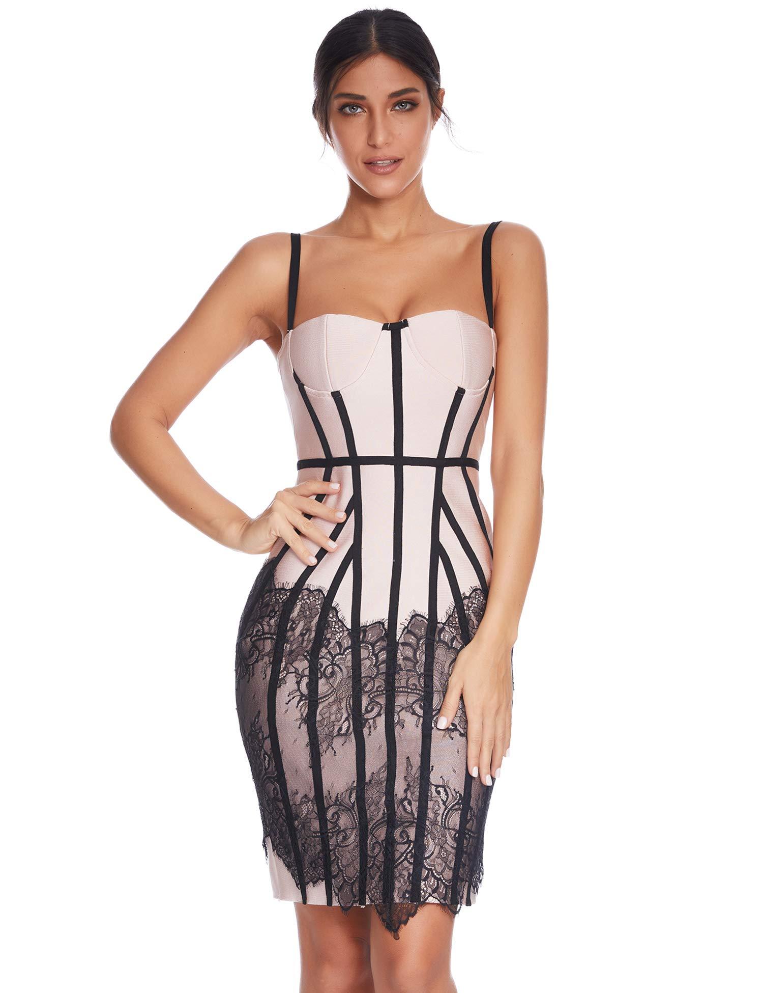 Meilun Womens Mesh Lace Bodycon Bandage Party Club Dresses (Beige, L)