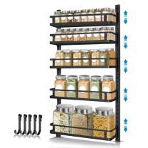 Wall Mount Spice Rack Organizer, AHNR 5 Tier Height-adjustable Spice Shelf Storage Wall Spice Rack Hanging Spice Organizer with 5 Hooks, Dual-use Seasoning Shelf Rack for Kitchen Cabinet Pantry Door (Black)