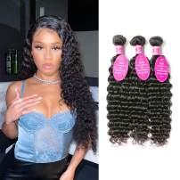 Brazilian Deep Wave Bundles 100% Unprocessed Virgin Human Hair 3 bundles 9A Grade Wet and Wavy Deep Curly Hair Bundles(8 10 12, Natural Color)