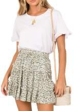 Runant Women's Skirt Ruffles High Waist Printed Cute Casual Mini Skirt