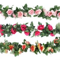 CEWOR 3pcs 22.6 Feet Fake Rose Vine Artificial Flower Garland for Wedding Home Party Garden Decoration Champagne, Pink and Hot Pink