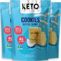 Keto Cookies Faster Fat Burn MCT - (Buttery Coconut) Low Carb snacks food. Gluten Free Healthy Diabetic sweets Atkins Keto Friendly desserts. Zero Carb added High Fat Bomb Vegan Ketosis mini bites