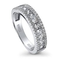 BERRICLE Rhodium Plated Sterling Silver Channel Set Cubic Zirconia CZ Anniversary Wedding Half Eternity Band Ring