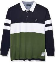 Nautica Men's Big and Tall Long Sleeve 100% Cotton Rugby Stripe Jersey Polo Shirt