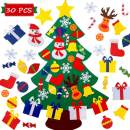 NAYARD DIY Wall Felt Christmas Tree Decoration for Kids 3 Ft+30 pcs Christmas Ornaments Sticker Wall or Door Hanging Felt Christmas Tree for Kids