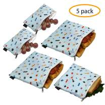 Reusable Sandwich Bags Snack Bags - Set of 5 Pack, Dual Layer Lunch Bags with Zipper, Dishwasher Safe, Eco Friendly Food Wraps, BPA-Free. (Music)