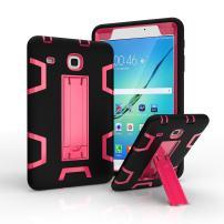 "Ycxbox Samsung Galaxy Tab E 8.0"" T377 Case, Galaxy Rugged Kickstand Stand Heavy Duty Kids Proof Protective Case for SM-T377A / SM-T377V / SM-T377P (Black+Pink)"