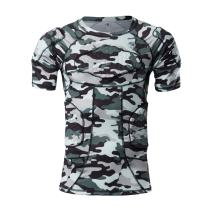 TUOY Men's Padded Compression T-Shirt Short Sleeve Shirt Rib Chest Shoulder Protector Safe Guard (Camouflage)(T-Shirt XXL)