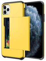 SAMONPOW Wallet Case for iPhone 11 Pro Case with Card Holder Dual Layer Hybrid Shell Heavy Duty Protection Shockproof Anti Scratch Soft Rubber Bumper Cover Case for iPhone 11 Pro 5.8 inch Yellow