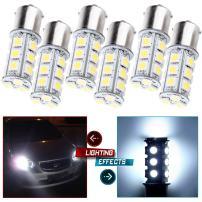 cciyu Backup Light, 1156 BA15S 5050 18SMD LED Light Bulb 7503 1141 Replacement fit for Brake Light RV High Mount Stop Light Rear Side Marker Light, 6 Piece White