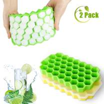 EEEKit Ice Cube Trays with Lids 2 Pack, Food Grade Silicone Flexible Ice Cube Molds, 37 Ice Cube Trays BPA Free Ice Maker for Chilled Drinks, Juice, Whiskey, Cocktail, Chocolate